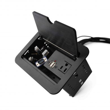 Conference Table Connectivity Box, 1 x AC Pwr (US) + 2 US B Charger + 1 USB (M / M) + 1 VGA + 1 HDMI + 2 RJ45 (CAT6) + 1 Audio 0.138mm , with 6ft cables