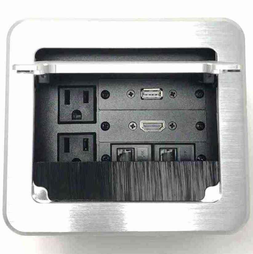 Conference Table Connectivity (Includes AV Box, 2 AC, 1 HDMI, 1 USB and 2 RJ45), Silver