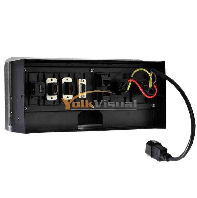 Table Multimedia Connectivity Box – 2 AC Power (US) + 2 RJ 45 + 2 HDMI + 1 USB, Wireless, Black