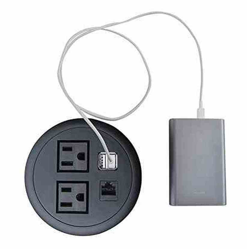 Desktop Power Washer (2 AC + 2 USB Charging + 1 RJ45), Black